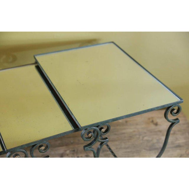 Set Three French Mirrored-Top Iron Nesting Tables For Sale - Image 4 of 9