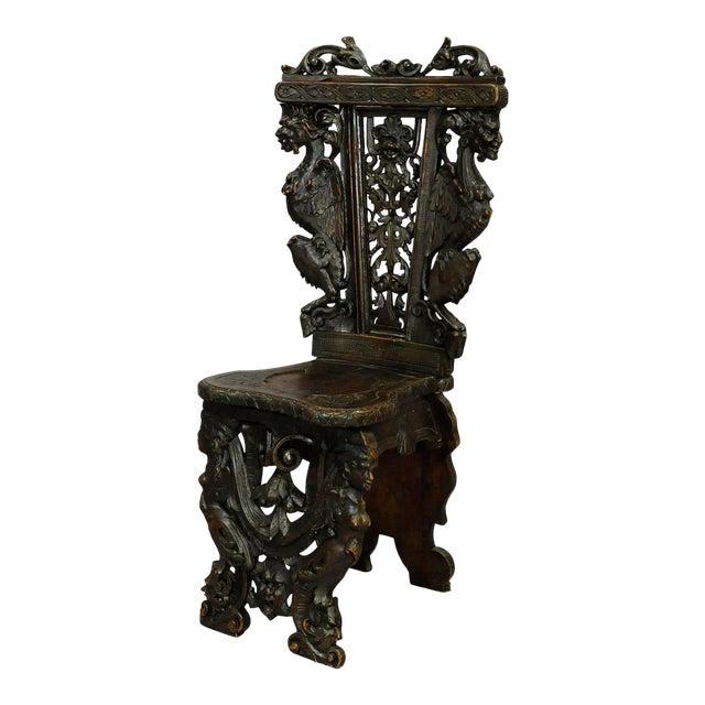 A Great Renaissance Style Italian Sgabello Chair Ca. 1860 For Sale