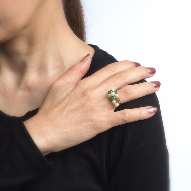 Vintage Jade Cultured Pearl Ring 14 Karat Yellow Gold Estate Fine Jewelry For Sale In Los Angeles - Image 6 of 8