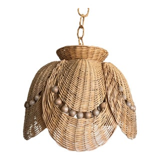 Scalloped Wicker Petals Pendant Light For Sale