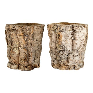 Natural Organic Modern Cork Planters - a Pair For Sale