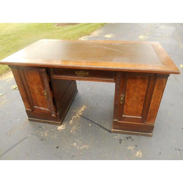 19th-C. Governor Winthrop Tiger Oak Desk - Image 3 of 9