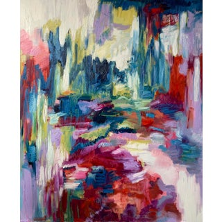 """""""Flash Point"""" Contemporary Abstract Expressionist Oil Painting by Monica Shulman For Sale"""