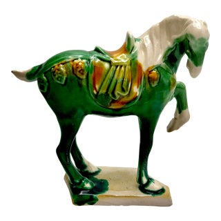 20th Century Folk Art Chinese Sancai Majolica Horse Figurine For Sale