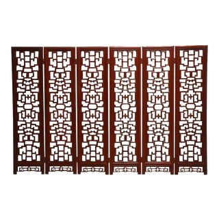 Chinese Six-Panel Rosewood Carved Lattice Screen For Sale