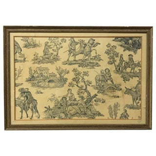 18th Century French Copper Plate Toile De Jouy Fragment For Sale