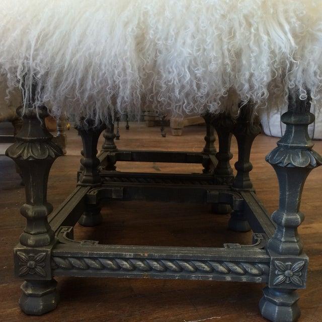 Angora Pelt Footstools - Pair - Image 4 of 6