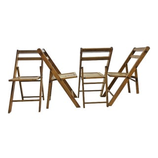 Vintage Rustic Slat Wood Folding Chairs - Set of 4