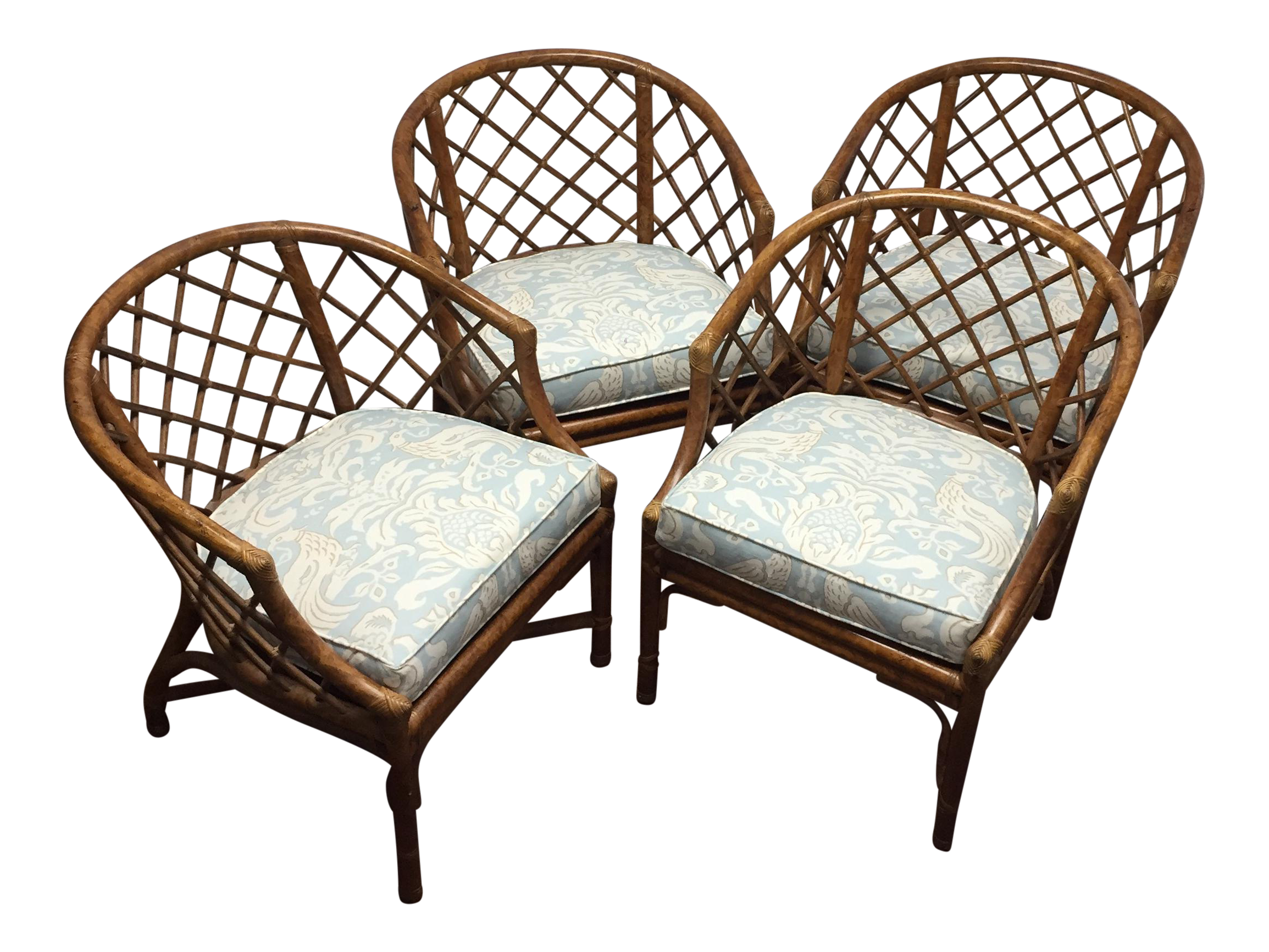 Vintage Bamboo Rattan Chairs  Set Of 4 For Sale