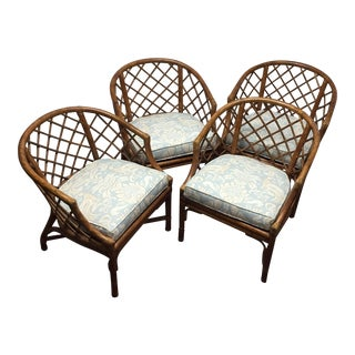 Vintage Bamboo Rattan Chairs - Set of 4