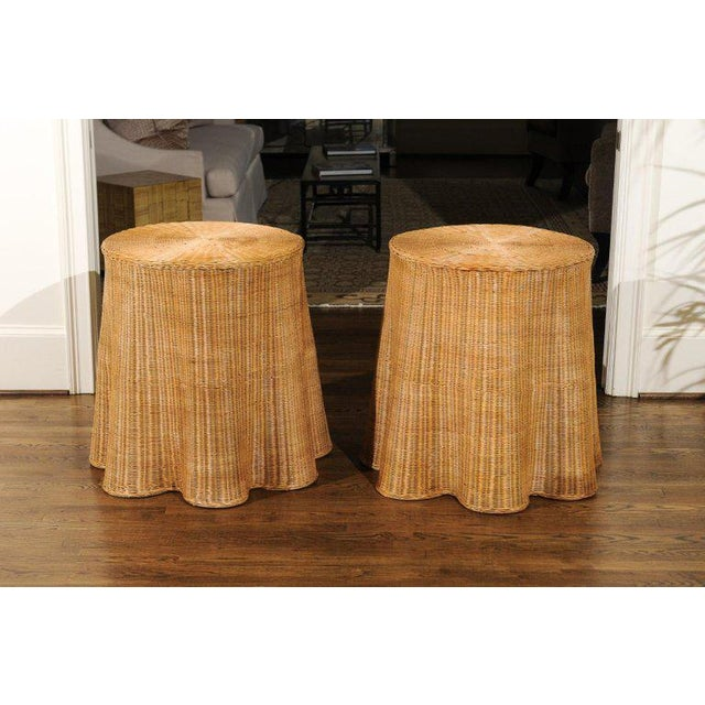 Stellar Pair of Vintage Trompe l'Oiel Drape Wicker Tables For Sale - Image 10 of 12