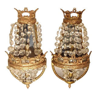 Ornate Mirrored Crystal Sconces - A Pair For Sale