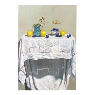 """""""Still Life with Apples and Plums Original Oil on Board by Eric Forstmann For Sale"""