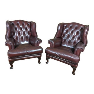 Vintage 20th Century English Traditional Brown Leather Chesterfield Wingback Chairs - a Pair For Sale