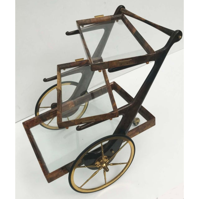 Hollywood Regency Aldo Tura Goatskin and Lacquer Bar Cart For Sale - Image 3 of 9