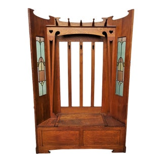 Antique Arts & Crafts / Mission Oak Leaded Glass Hall Tree with Bench For Sale