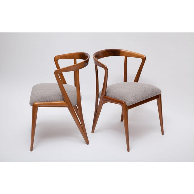 """As close to """"sexy"""" as an armchair can get! Rare and gorgeous solid walnut chairs designed by Bertha Schaefer, and..."""