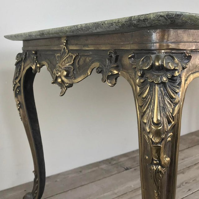 Green Mid-Century Italian Louis XIV Brass & Marble Coffee Table For Sale - Image 8 of 12