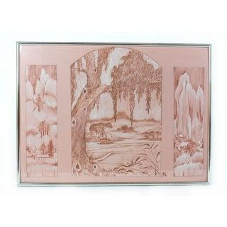 Original Oriental Pink Landscape Signed Framed Drawing For Sale