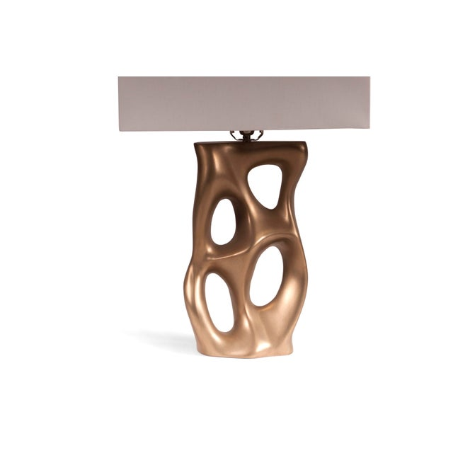 Wood Amorph Loop Table Lamp - Gold For Sale - Image 7 of 8