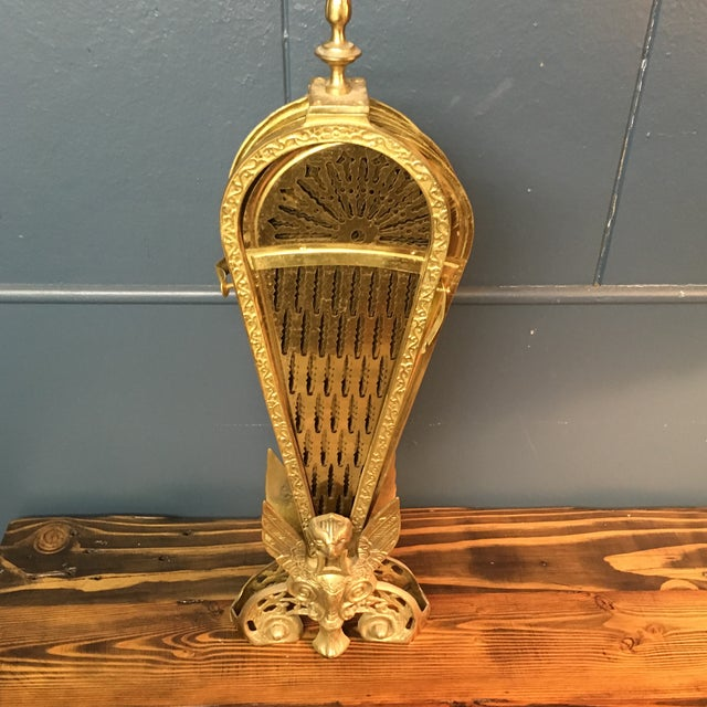 Brass Vintage Retractable Brass Fireplace Screen For Sale - Image 7 of 9