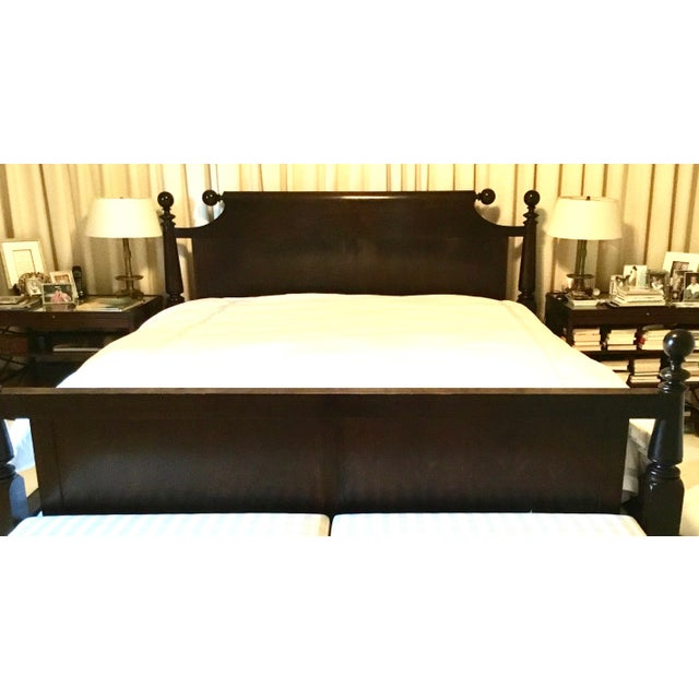 Ebonized Reproduction Canon Ball Bed Frame - Image 7 of 7