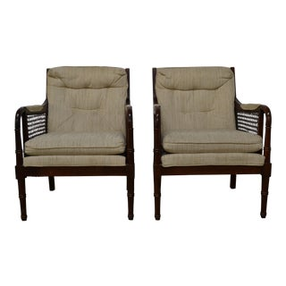 Thomasville Mid Century Upholstered Cane/Bamboo Bergere Chairs - a Pair For Sale