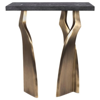 Chital Side Table II in Black Shagreen and Bronze-Patina Brass by Kifu Paris For Sale