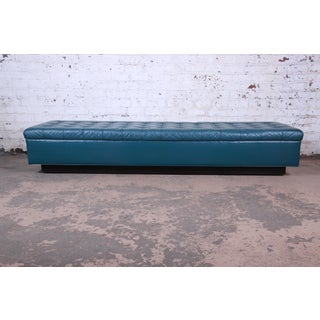 Edward Wormley for Dunbar Custom Tufted Blue Leather Long Benches, Two Available Preview