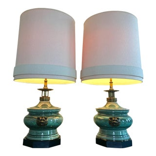 1950s Vintage Edwin Cole for Stiffel Chinoiserie Ceramic & Brass Dragon Lamps - a Pair For Sale
