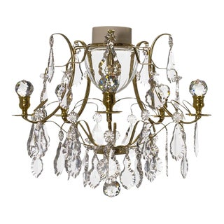 Bathroom Chandelier in Brass and Crystal