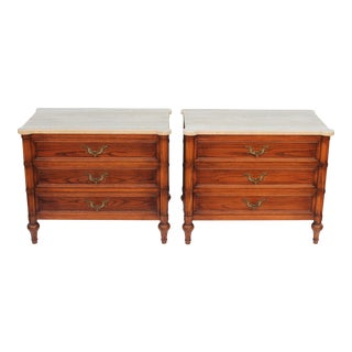 1960s Traditional Travertine Topped Nightstands - a Pair For Sale