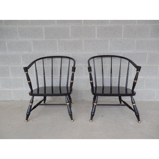 Rousseau Bros. Barrel Back Spindle Black Painted Club Chairs-A Pair For Sale - Image 11 of 11