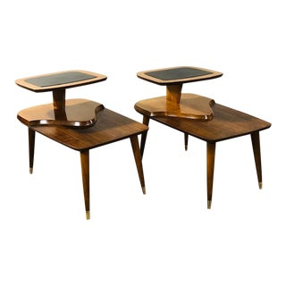 1950s Mid Century Modern Walnut and Leather End Tables - a Pair For Sale