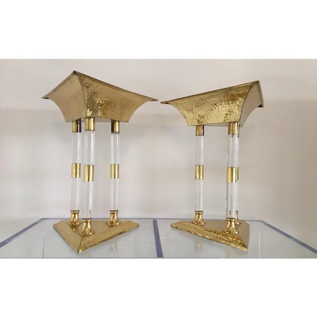 Italian Brass and Lucite Table Top Objets - a Pair For Sale - Image 13 of 13