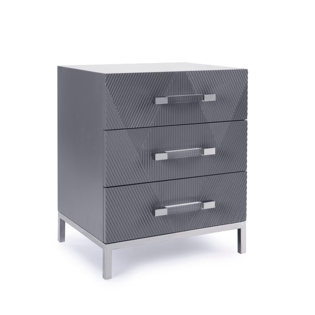 Pasargad's Firenze Side Table With 3 Drawers, Grey For Sale In New York - Image 6 of 6