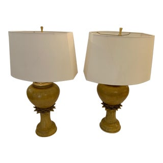Vintage Ochre Jar Shaped Ceramic Table Lamps -A Pair For Sale