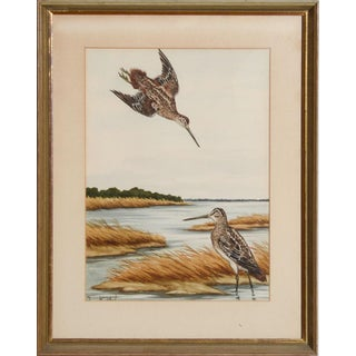 "Mid 20th Century ""Sandpipers at the Shore"" Watercolor Painting by Jean Herblet, Framed For Sale"