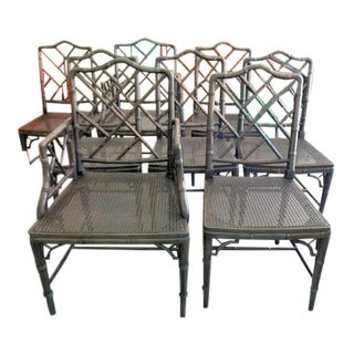 Vintage Mid Century Faux Bamboo Chippendale Chairs- Set of 8 For Sale