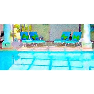 Bermuda Poolside Swimming Pool Architectural Digital Watercolor Print From Original Color Photograph For Sale