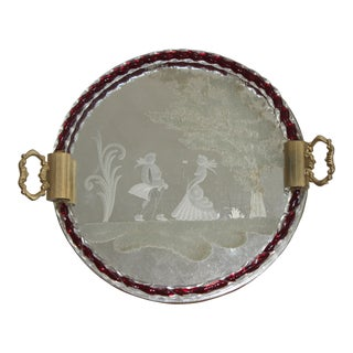Murano Etched Glass Vanity Table Round Tray With Red Twist Detail by Barovier Et Toso For Sale