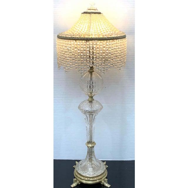 Art Deco Austrian Art Deco Crystal & Bronze Boudoir Lamp, With Sphinx Feet For Sale - Image 3 of 10