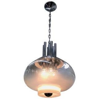 Italian 1970s Modern Blown Glass and Chrome Pendant Light For Sale