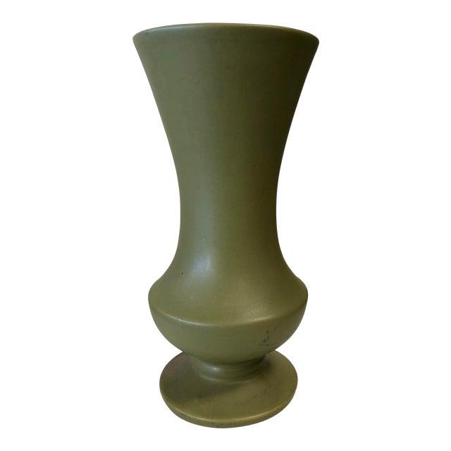 Vintage McCoy Floraline Olive Green Vase For Sale