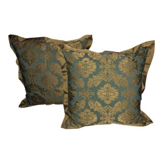 Waterford Floral Jacquard Euro Pillows - A Pair For Sale