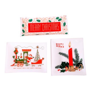 Vintage Houze Glass Mid Century Christmas Trays - Set of 3 For Sale