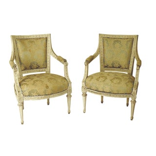 1900s Swedish Painted Armchairs - a Pair For Sale