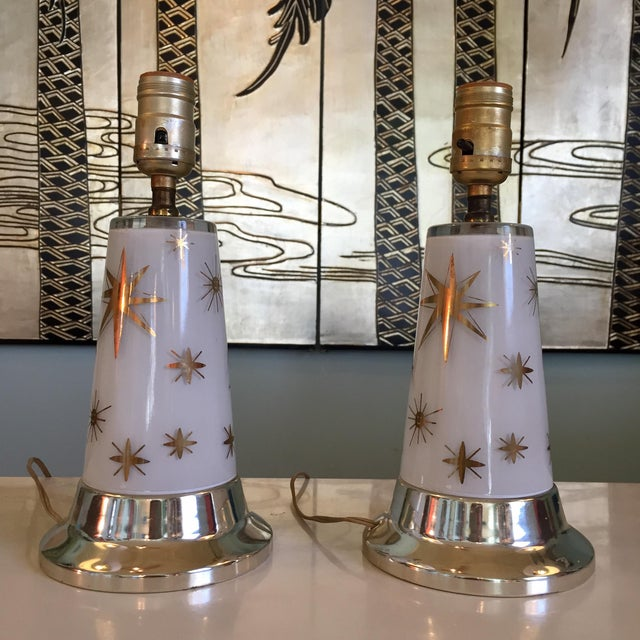 1950s Celestial Glass Lamps- a Pair For Sale In Richmond - Image 6 of 10