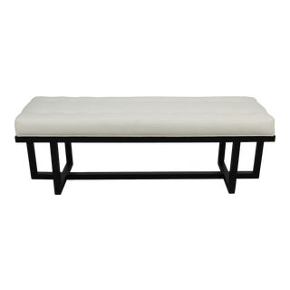 Mid-Century Modern Style Bench With Oatmeal Linen Cushion For Sale