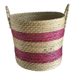 Pink Striped Seagrass Basket For Sale